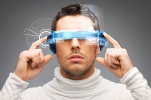 businessman with augmented reality digital glasses
